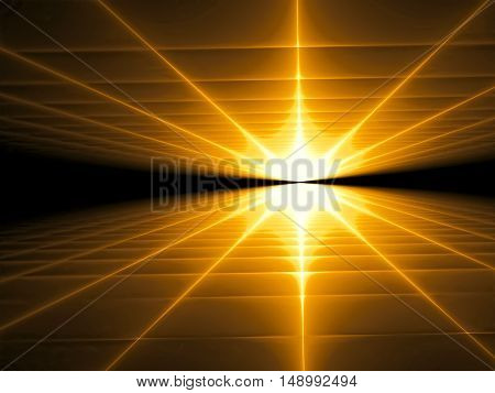 Abstract technology background - computer-generated image. Fractal art: rays radiating from the horizon. Trendy perspective backdrop.
