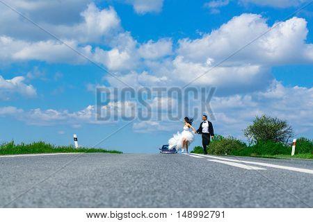Wedding Happy Couple Running On Road