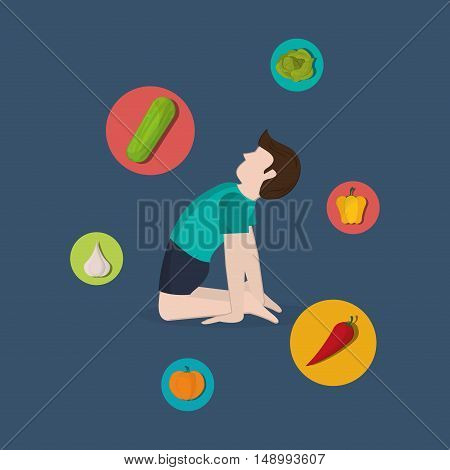 healthy food ingredients and  yogi  icons image  vector illustration