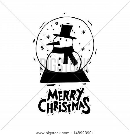 Merry Christmas and Happy New Year. Snowman in a bowl. Xmas Poster, banner, printed matter, greeting card. Lettering, calligraphy. Hand-drawn, lino-cut. Flat design vector illustration.