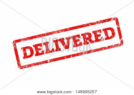 DELIVERED written on red rubber stamp with grunge edges.