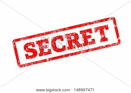 SECRET word written on red rubber stamp with grunge edges.