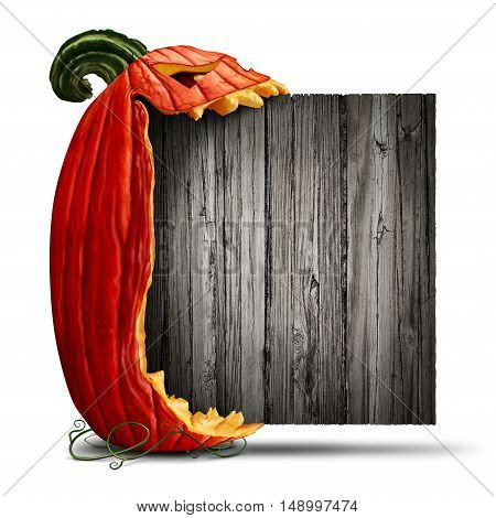 Jack O Lantern Halloween blank sign as a side view pumpkin character biting into an old wood banner as an advertising and seasonal marketing message with a scary expression on a white background with 3D illustration elements.