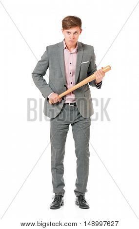 Anger man in suit with wooden baseball bat. Guy standing full length portrait, isolated on white background.
