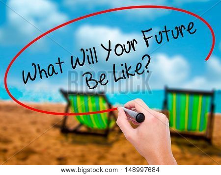 Man Hand Writing What Will Your Future Be Like? With Black Marker On Visual Screen