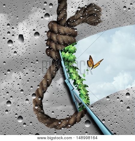 Concept of suicide prevention psychology therapy and psychiatrist or psychologist treatment to stop depressed suicidal people from ending thier lives as a wiper clearing a negative cloudy noose revealing bright positive future with 3D illustration element poster