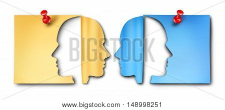 Business meeting discussion symbol as a two diverse paper office note icons with thumb tack pin shaped as cut out human head shapes as a working employee communication agreement concept as a 3D illustration.