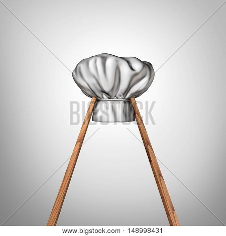 Asian cuisine as a pair of chopsticks holding a chef hat as an oriental restaurant cooking concept and eastern culture symbol for Chinese Japanese Korean Vietnamese and Thai food tradition as a 3D illustration.