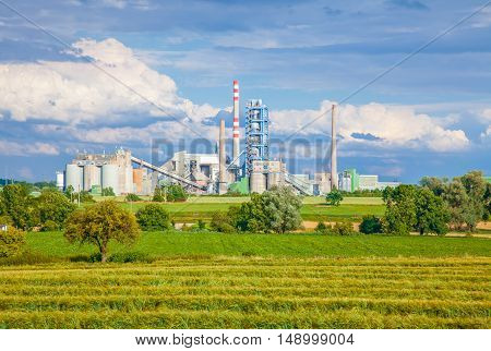 Concrete batching plant,green field with blue sky