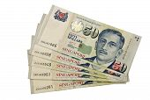 Fifty Singapore dollars on white isolated background poster