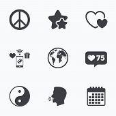World globe icon. Ying yang sign. Hearts love sign. Peace hope. Harmony and balance symbol. Flat talking head, calendar icons. Stars, like counter icons. Vector poster