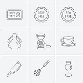Coffee cup, butcher knife and wineglass icons. Meat grinder, whisk and vase linear signs. Heat-resistant, DEHP and BPA free icons. Linear icons on white background. Vector poster