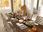 cozy nordic kitchen in an apartment. thanksgiving and fall concept. 3D rendering poster