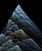Blue fractal mountain on a black background poster