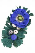 Brooch made of felt wool on a white background poster