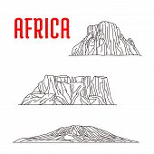Historic landmarks, sightseeings, famous showplaces of Africa. Vector thin line icons of Mount Kilimanjaro, Tirel Waterfall, Drakensberg for souvenir decoration elements poster