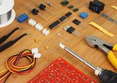 Electronic DIY KIT and hand tools for electronics assembly. poster