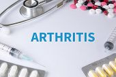 ARTHRITIS Text On Background of Medicaments Composition Stethoscope mix therapy drugs doctor flu antibiotic pharmacy medicine medical poster