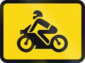 Temporary road sign used in the African country of Botswana - The primary sign applies to motorcycles. poster
