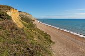 Eype beach Dorset England uk small village on Jurassic coast south of Bridport and near West Bay poster