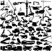Construction vehicles - vector collection isolated on white poster