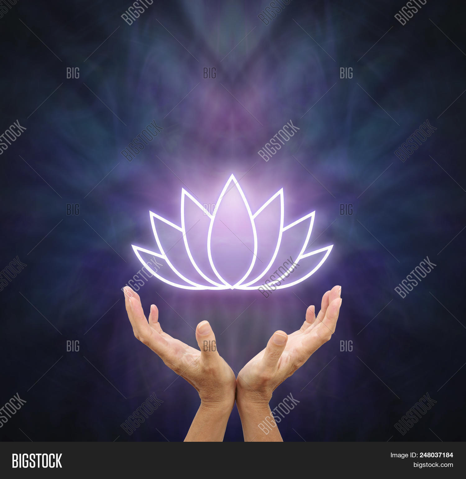 Symbolic lotus healing image photo free trial bigstock symbolic lotus healing energy female hands reaching up and open with a glowing white lotus izmirmasajfo