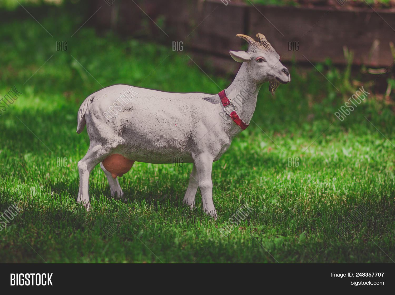 Goat Model Decorated In A Garden Summer Sculpture Gr Outdoor Statue