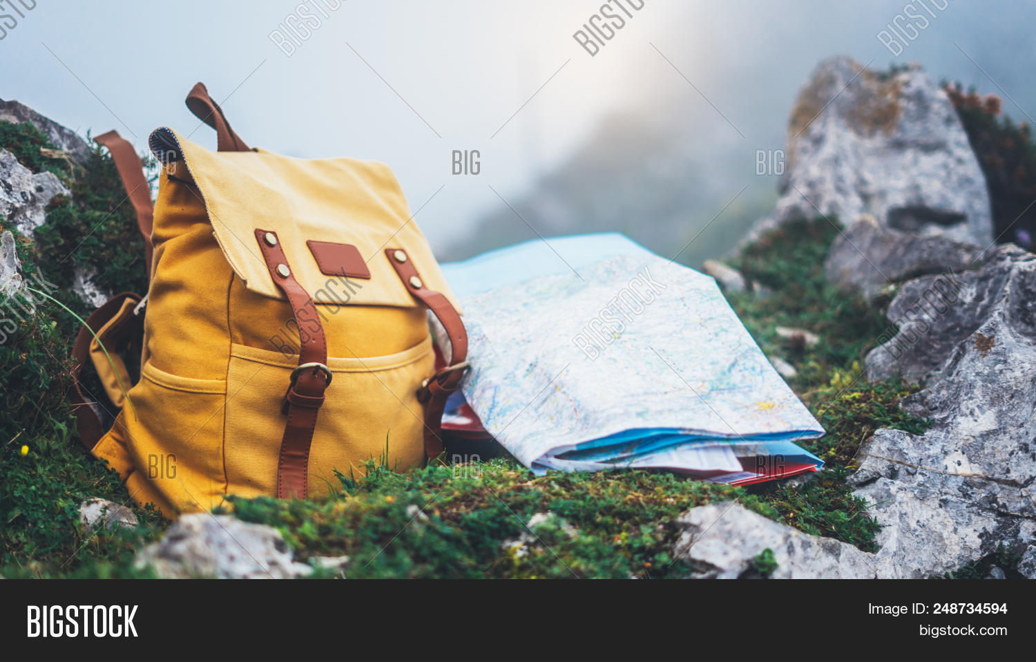 562cdb2826f8 Hipster Hiker Tourist Yellow Backpack And Map Europe On Background Green  Grass Nature In Mountain,