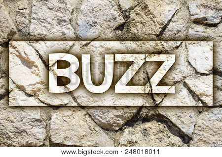 Writing note showing  Buzz. Business photo showcasing Hum Murmur Drone Fizz Ring Sibilation Whir Alarm Beep Chime Ideas message stone stones rock rocks backgrounds wild natural pebbles poster