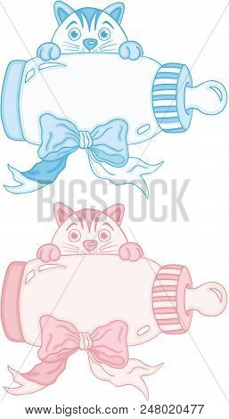 Scalable Vectorial Representing A Blue And Pink Cute Cat With Baby Milk Bottle, Element For Design,