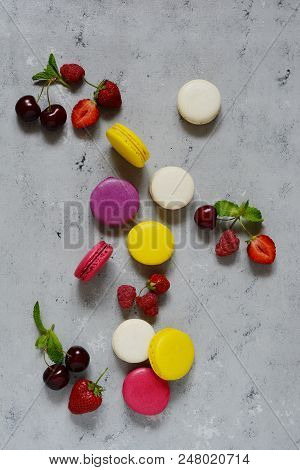 French Colorful  Macarons On A Gray Background. Macaron Cake. French Sweet Cookie. French Macaroon P