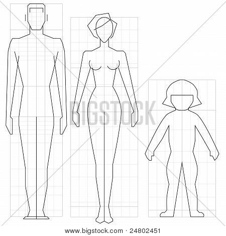 Drawing circuit man woman and child body vector illustration. poster