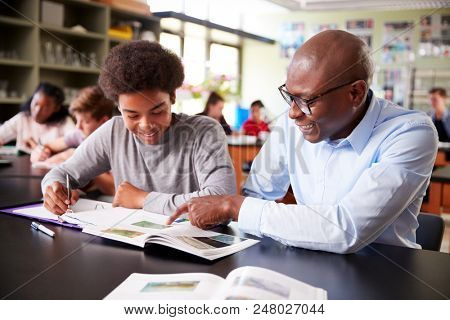 High School Tutor Sitting At Desk With Male Student In Biology Class