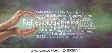 Reflexology Descriptive Word Tag Cloud Banner - Female Cupped Hands With The Word Reflexology Floati