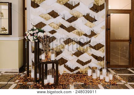 Beautiful Handmade Background For Photos During The Holiday. Photozone At A Wedding In Style Of Gats