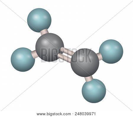 A Molecule Of Ethylene. C2h4 3d Formula. Vector Illustration. Chemical Structure.