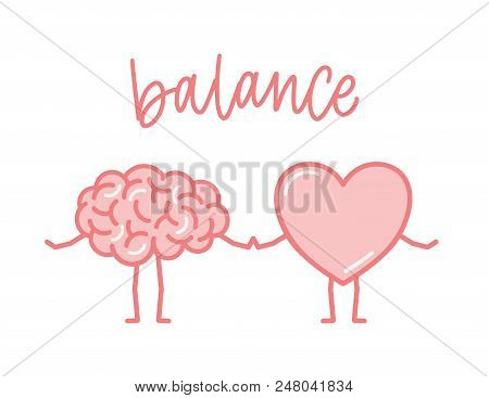 Cute Pink Brain And Heart Holding Hands. Funny Cartoon Human Organs Isolated On White Background. Co