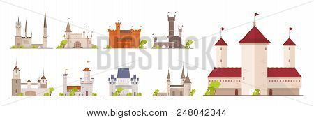 Collection Of Ancient Castles, Fortresses, Citadels And Strongholds Isolated On White Background. Se
