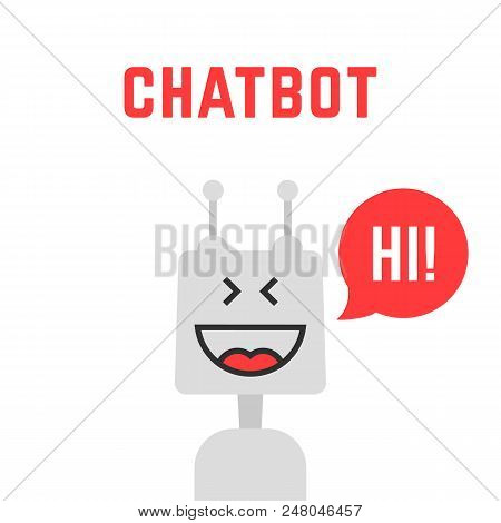 Silver Simple Chatbot Robot Like Assistant. Concept Of Funny Digital Advisor Avatar To Help The Cust