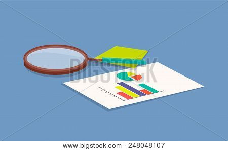 Magnifying Glass And Paper With Information Paper With Pie Diagram And Chart Note And Magnifying Gla