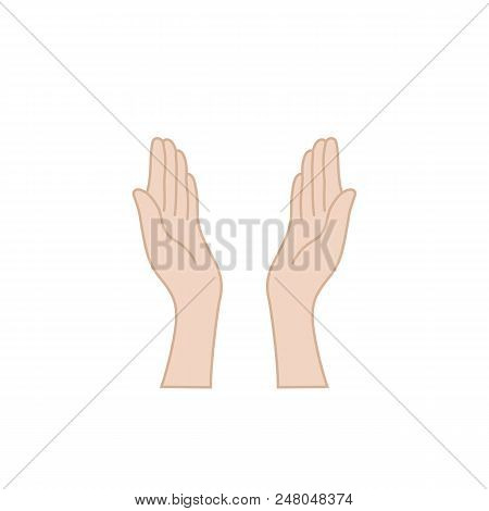 Hands Praying For Help Raised Upwards. Concept Of Uplifted Female Arms Or Assistance Or Meditation G