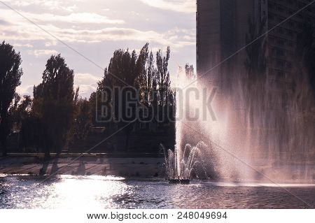 Kiev, Ukraine. Fountains On The Bank Of The River.