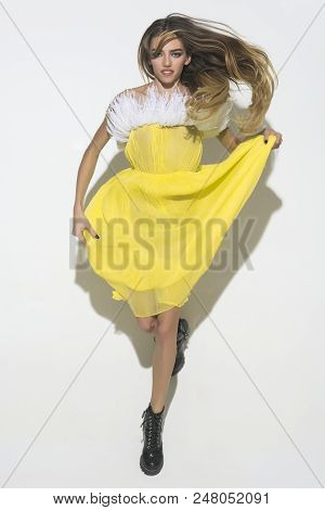Girl In Yellow Dress. Beauty And Fashion. Trendy Clothes. Teen Fashion. Yellow Dress. Evening Makeup