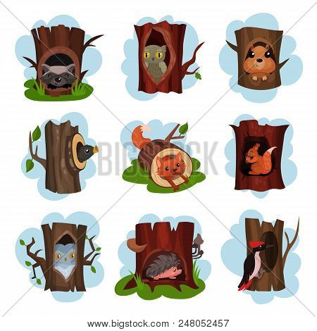 Cute Animals And Birds Sitting In Hollow Of Trees Set, Hollowed Out Old Trees With Fox, Owl, Hedgeho