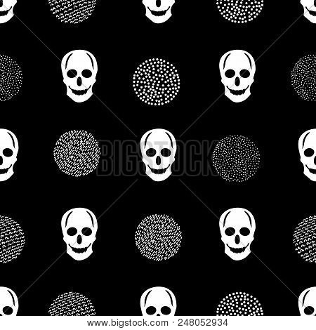 Seamless Pattern With White Skulls And Circles On The Black Background. Vector Illustration