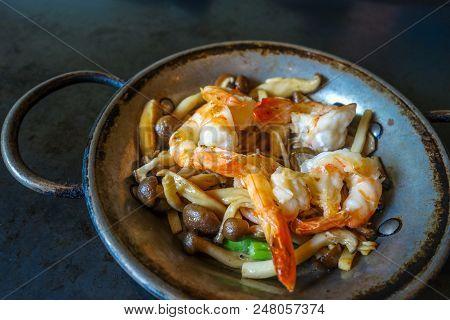 Shrimp Teppanyaki, Japanese Traditional Hot Plate Food, Kyoto, Japan