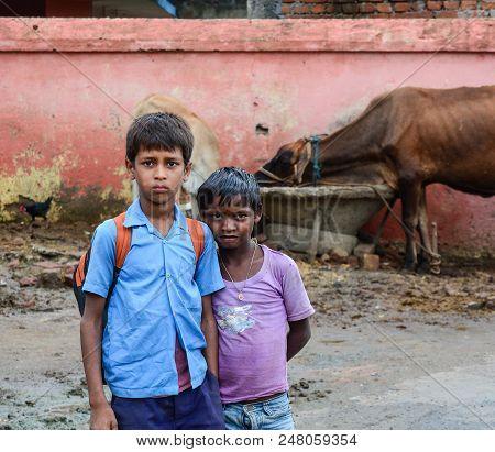 Bodhgaya, India - July 9, 2015. Children Playing On Street In Bodhgaya, India. Bodhgaya Is The Most