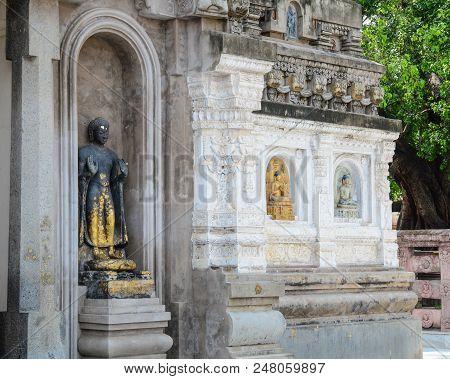 Bodh Gaya, India - Apr 5, 2016. Part Of Mahabodhi Temple Complex In Bodh Gaya, India.