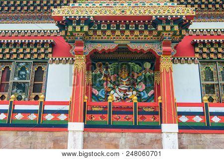 Bodhgaya, India - July 9, 2015. Part Of Bhutanese Buddhist Temple In Bodhgaya, India. Bodh Gaya Is T