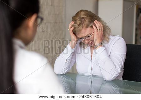 Candidate Crying And Failure On Job Interview In Office